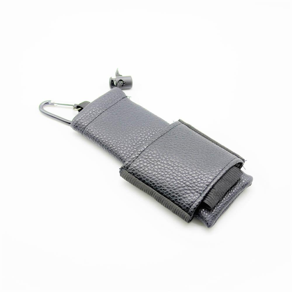 Housse e-cigarette avec mousqueton – Cuir noir