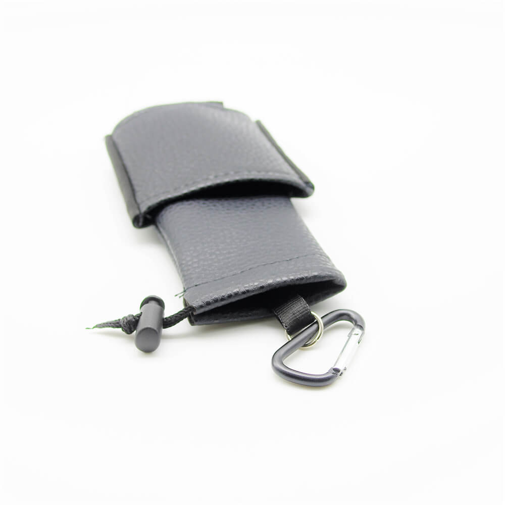 Housse de transport cigarette électronique avec mousqueton – Cuir noir